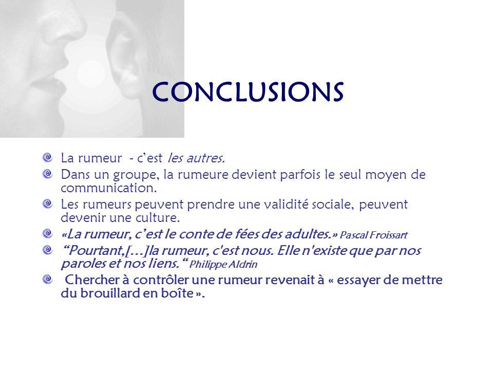 CONCLUSIONS La rumeur - c'est les autres.