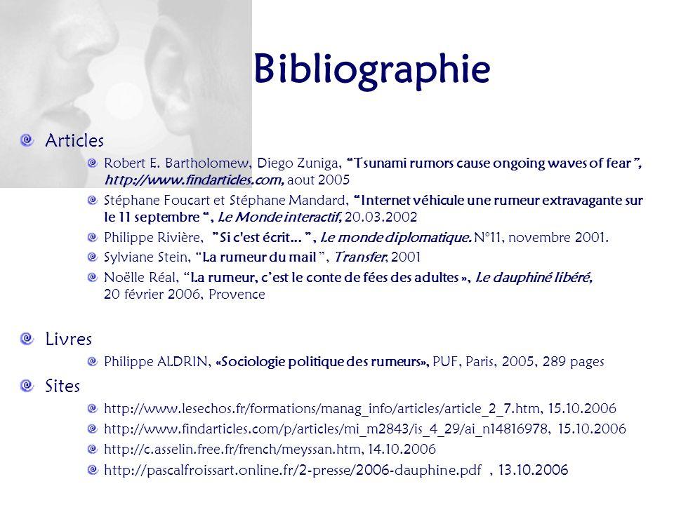 Bibliographie Articles Livres Sites