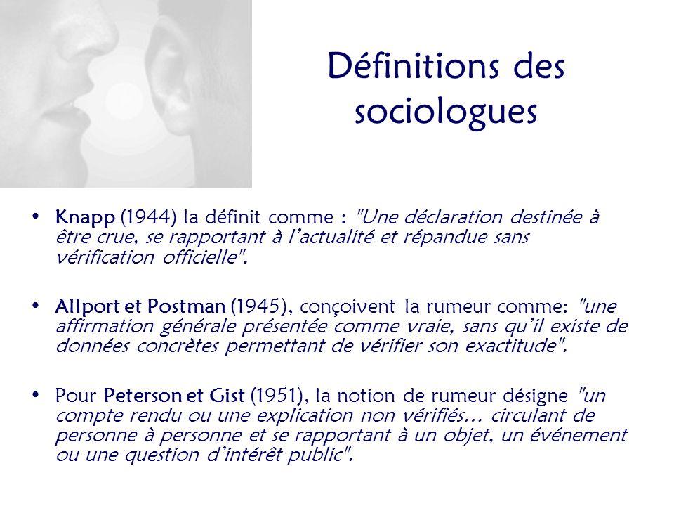 Définitions des sociologues