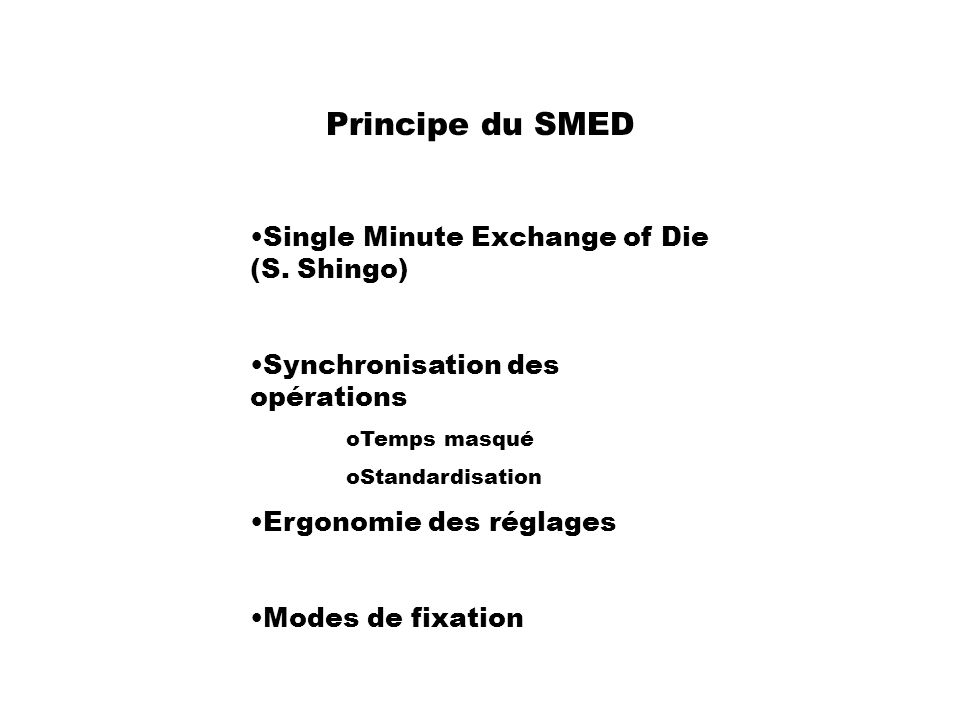 Principe du SMED Single Minute Exchange of Die (S. Shingo)