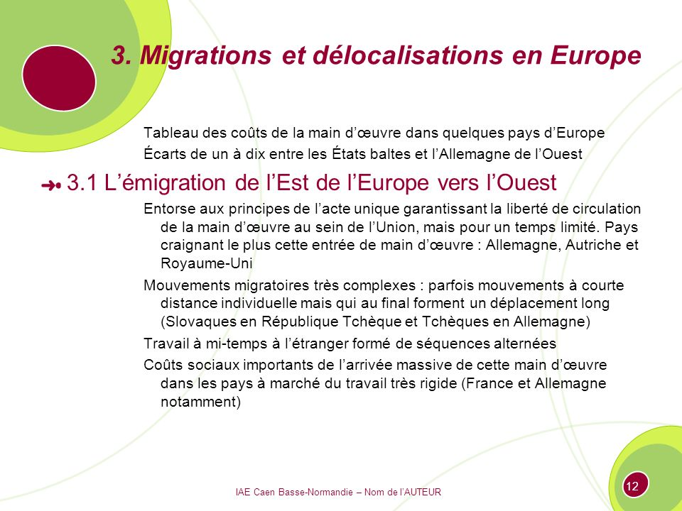 3. Migrations et délocalisations en Europe