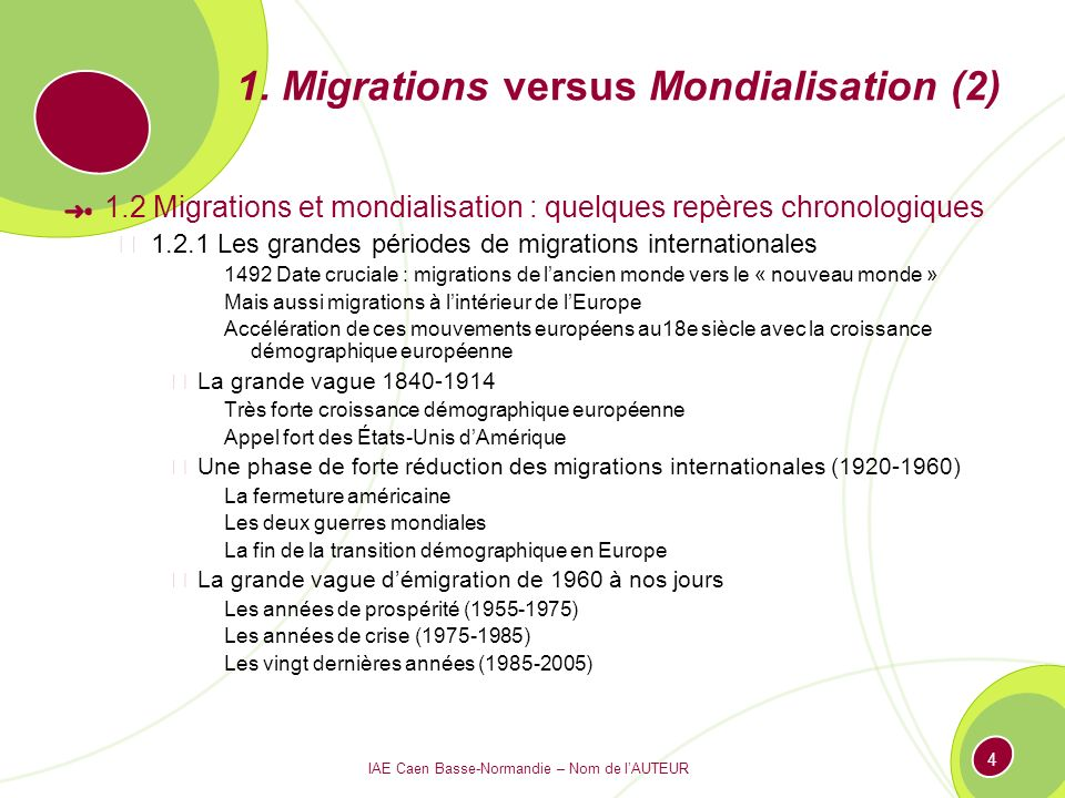 1. Migrations versus Mondialisation (2)