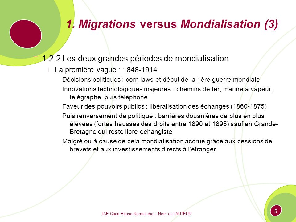 1. Migrations versus Mondialisation (3)