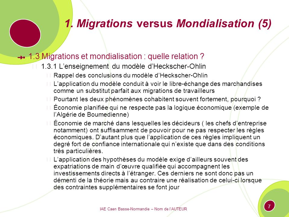 1. Migrations versus Mondialisation (5)