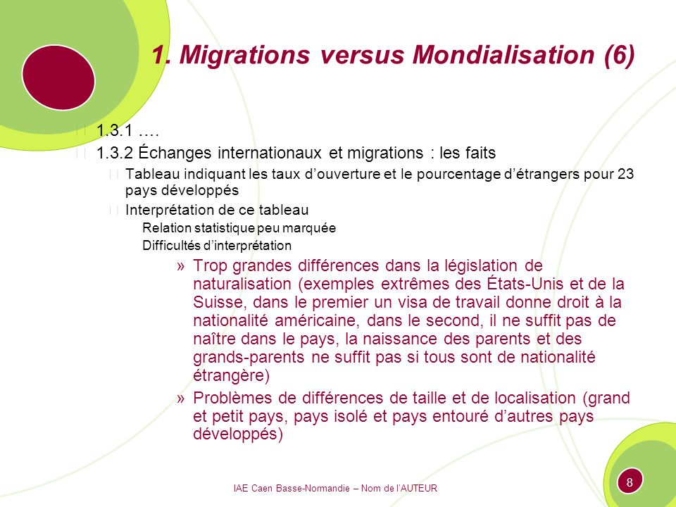 1. Migrations versus Mondialisation (6)