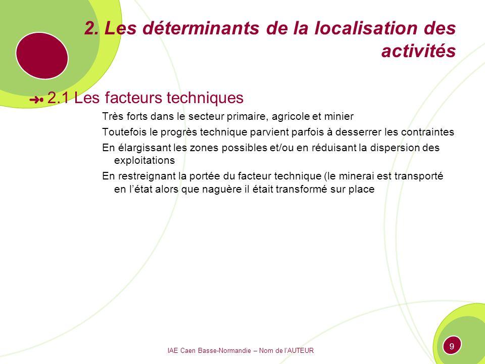 2. Les déterminants de la localisation des activités