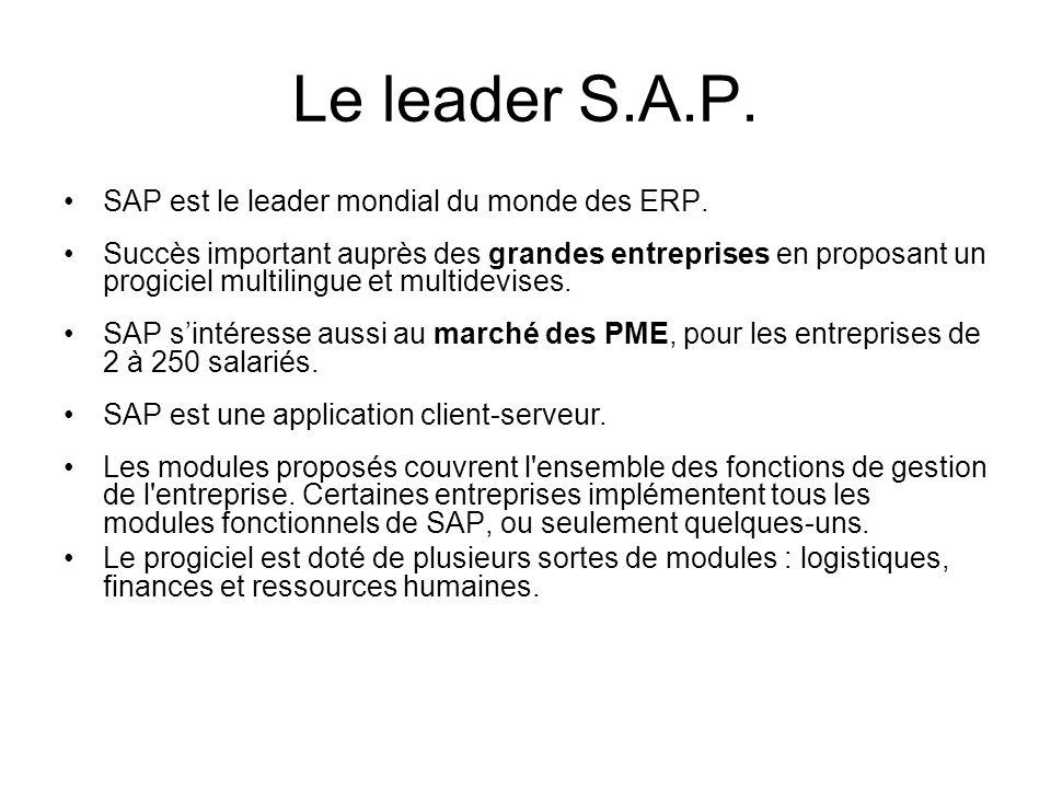 Le leader S.A.P. SAP est le leader mondial du monde des ERP.