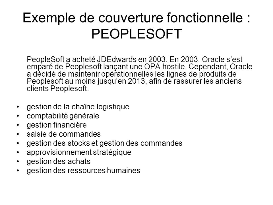 Exemple de couverture fonctionnelle : PEOPLESOFT