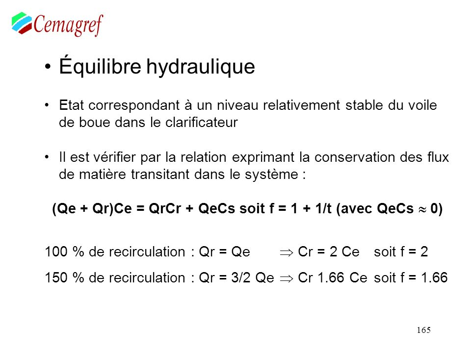 3.3 : Le clarificateur * dimensionnement de l'ouvrage. * la recirculation des boues. 3.4 : la production de boue.