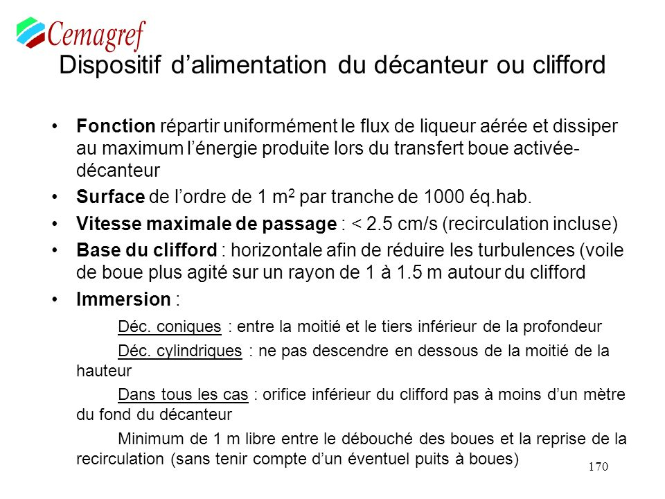 Exemple : Calculez le volume d'un bassin d'aération pour une ville de 12 000 habitants. Supposez :