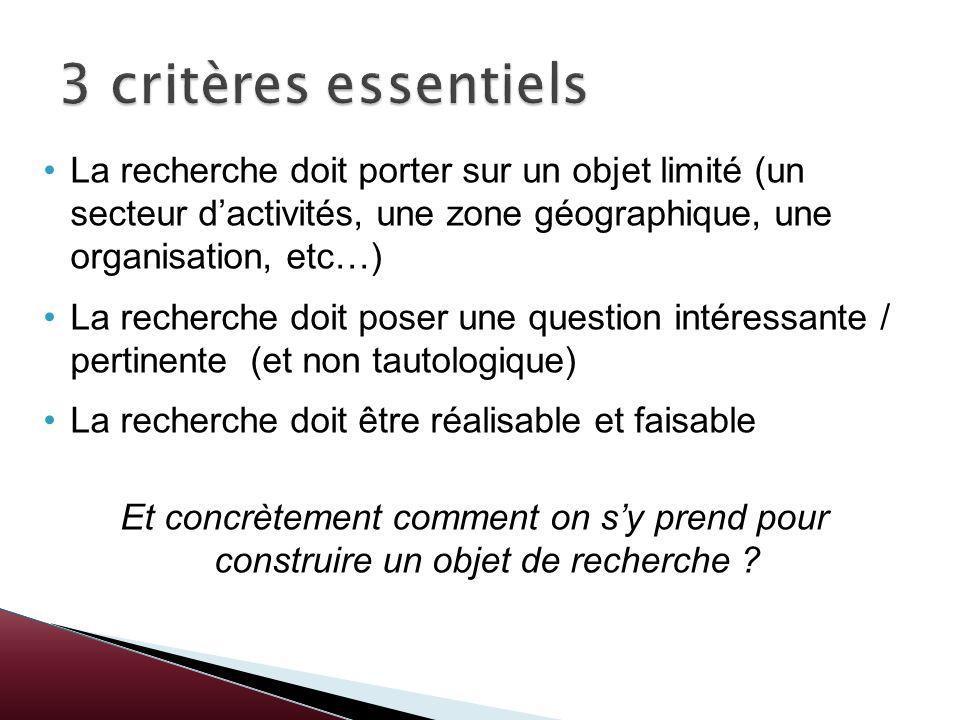 3 critères essentiels La recherche doit porter sur un objet limité (un secteur d'activités, une zone géographique, une organisation, etc…)