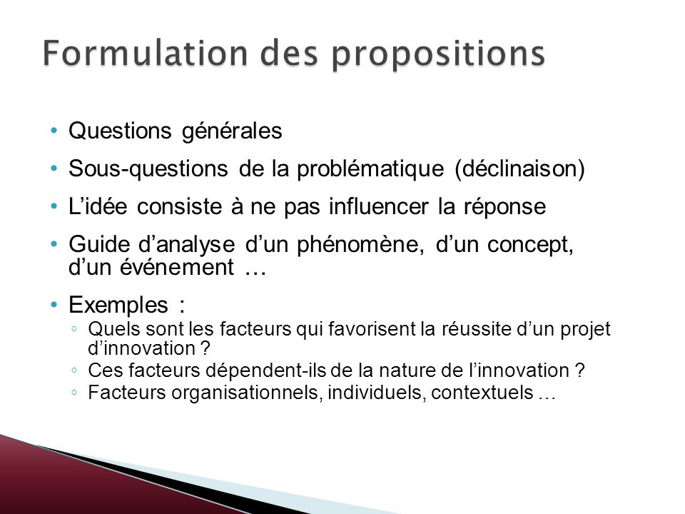 Formulation des propositions