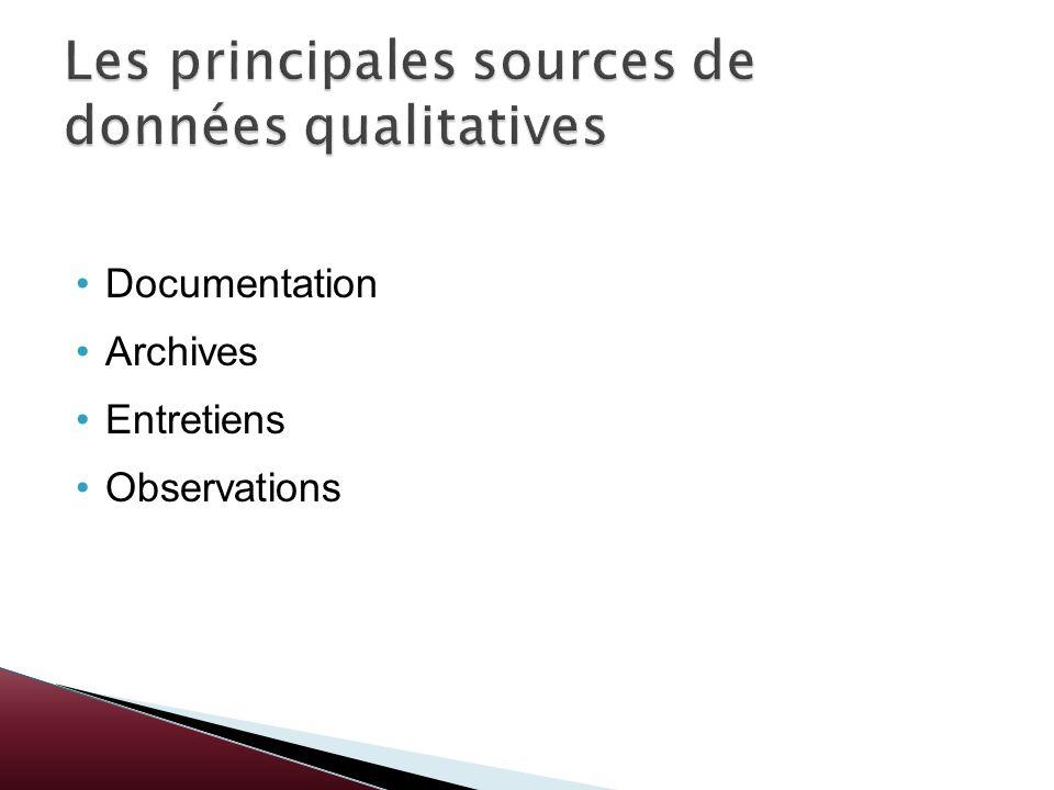 Les principales sources de données qualitatives