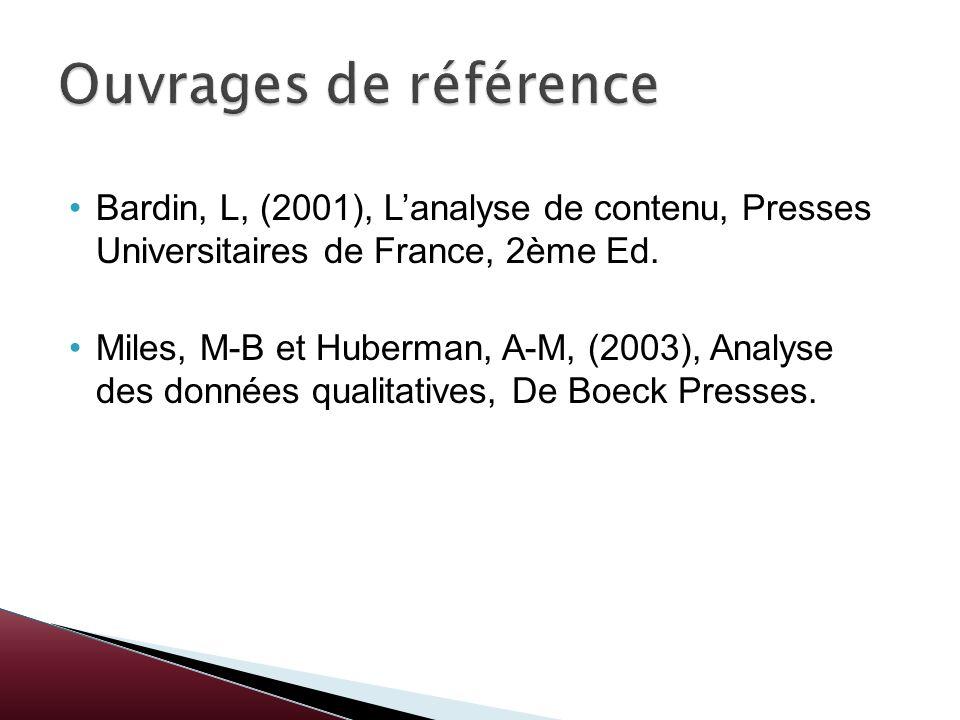 Ouvrages de référenceBardin, L, (2001), L'analyse de contenu, Presses Universitaires de France, 2ème Ed.