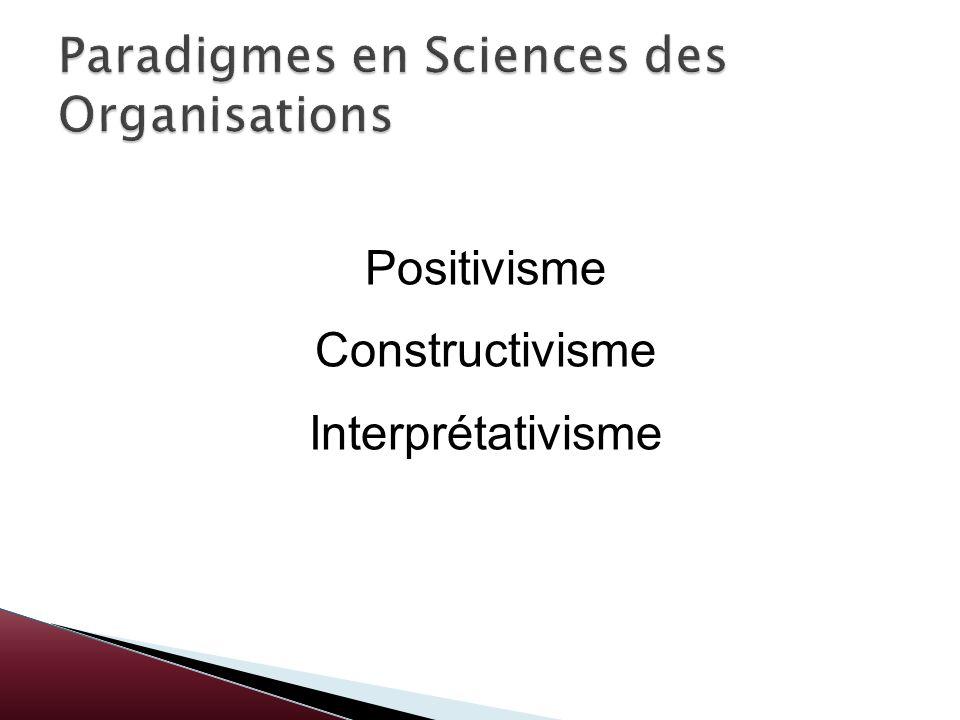 Paradigmes en Sciences des Organisations