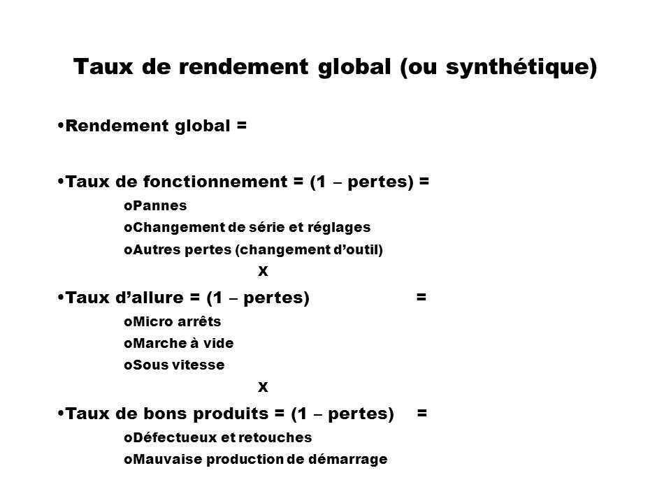 Taux de rendement global (ou synthétique)