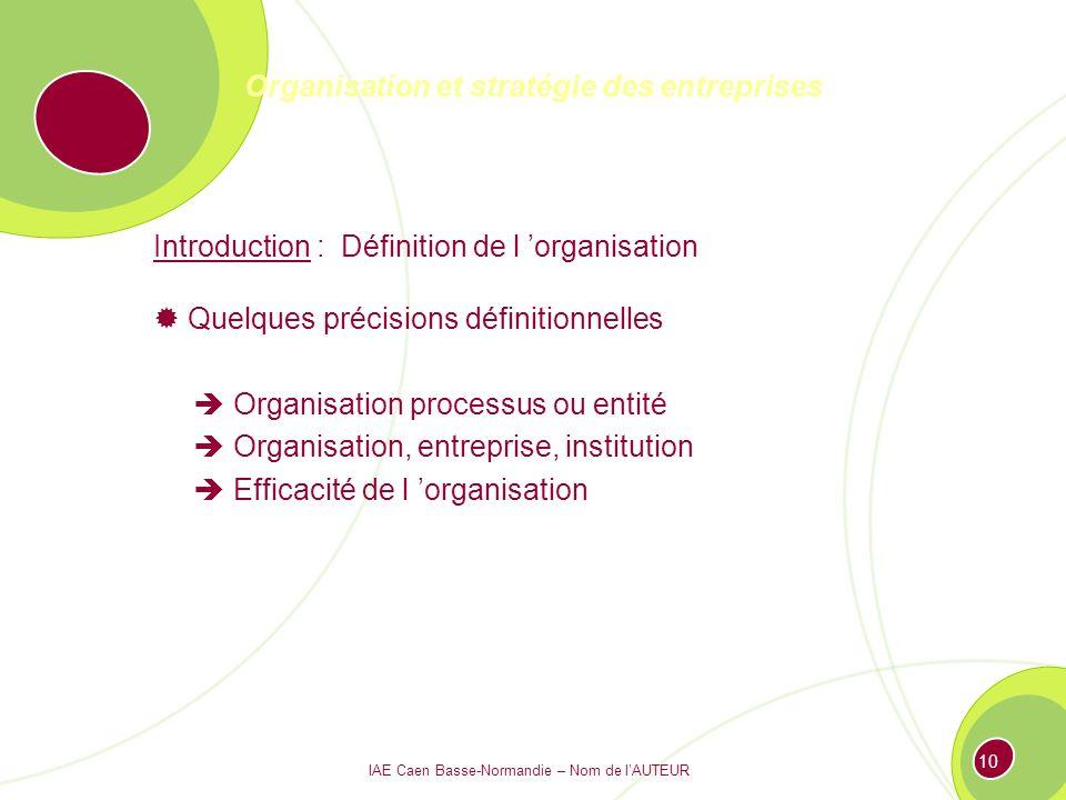 Organisation et stratégie des entreprises