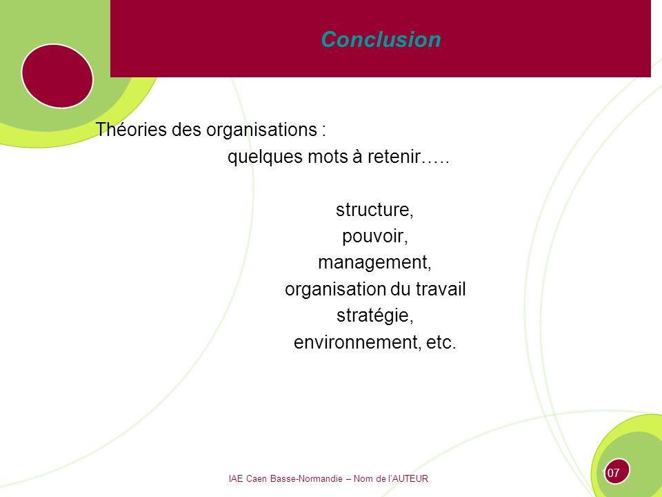 Conclusion Théories des organisations : quelques mots à retenir…..