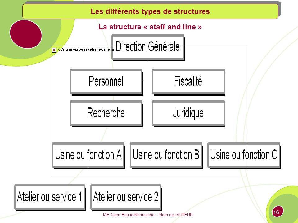 Les différents types de structures La structure « staff and line »