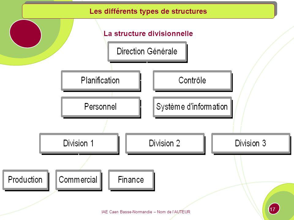 Les différents types de structures La structure divisionnelle
