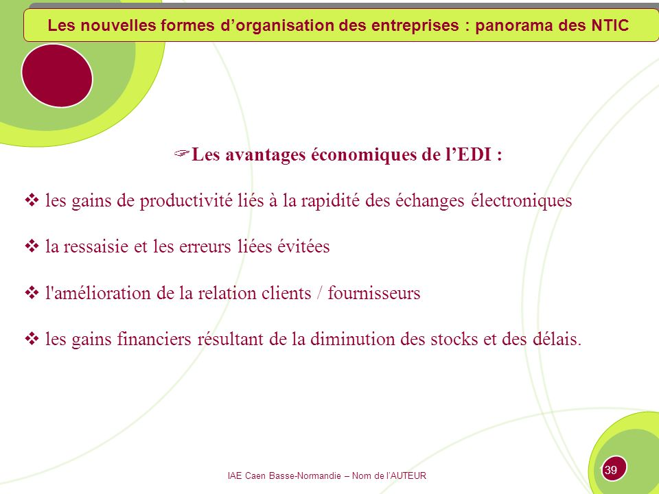 Les avantages économiques de l'EDI :