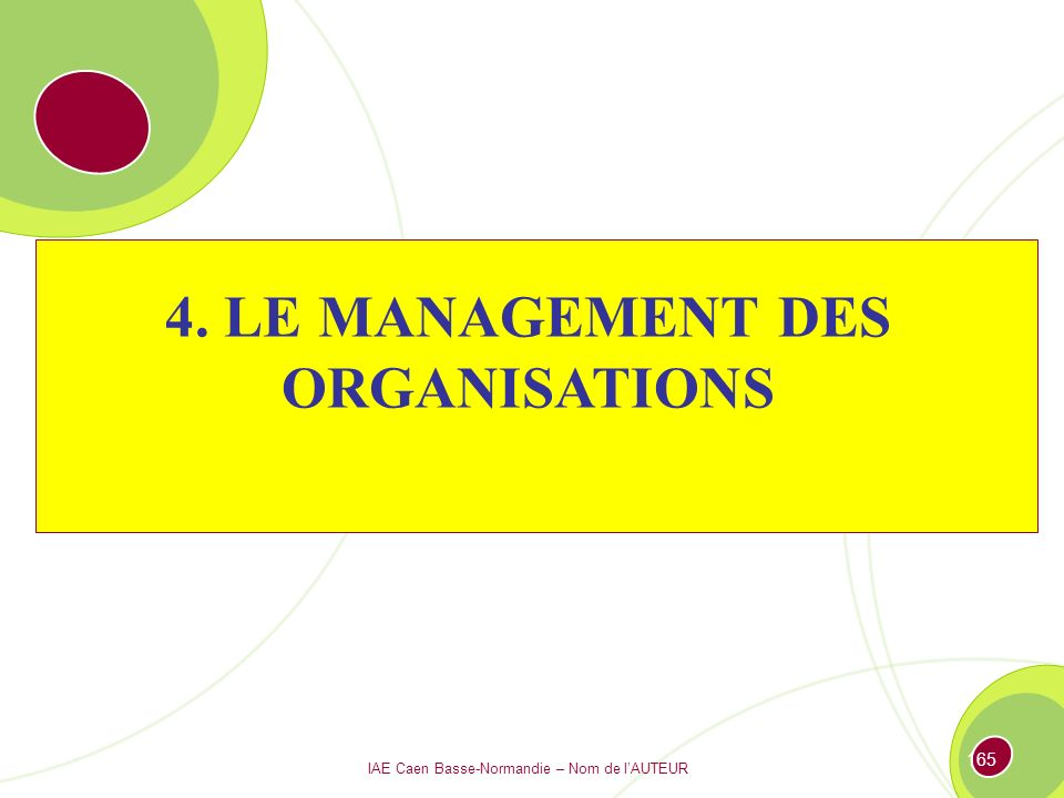4. LE MANAGEMENT DES ORGANISATIONS