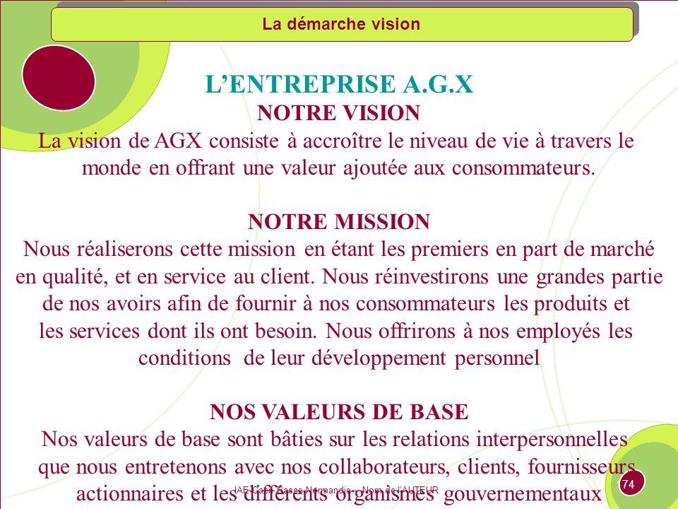 L'ENTREPRISE A.G.X NOTRE VISION