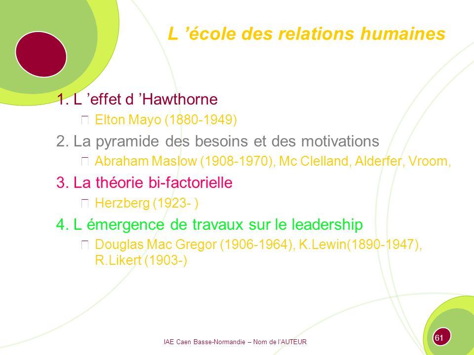 L 'école des relations humaines
