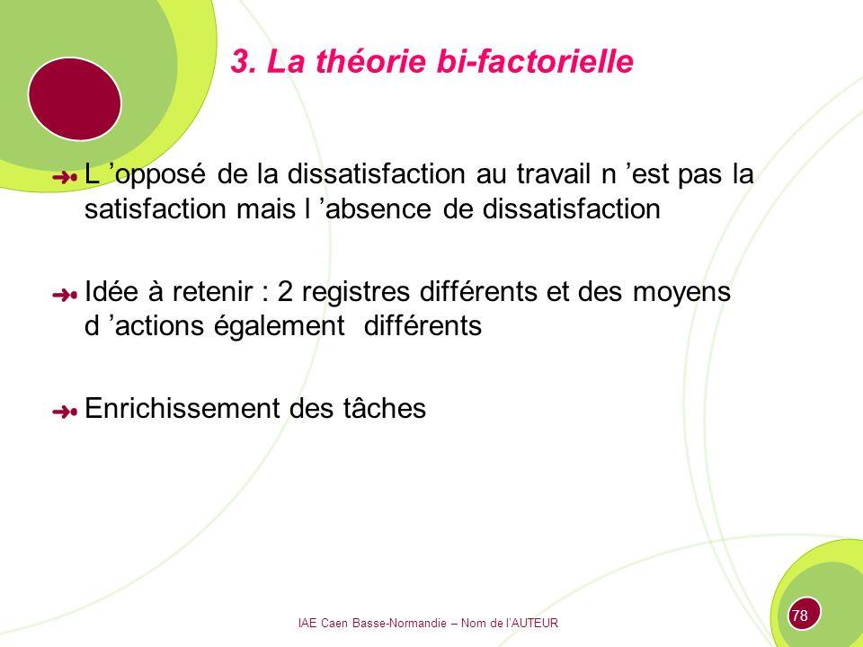 3. La théorie bi-factorielle
