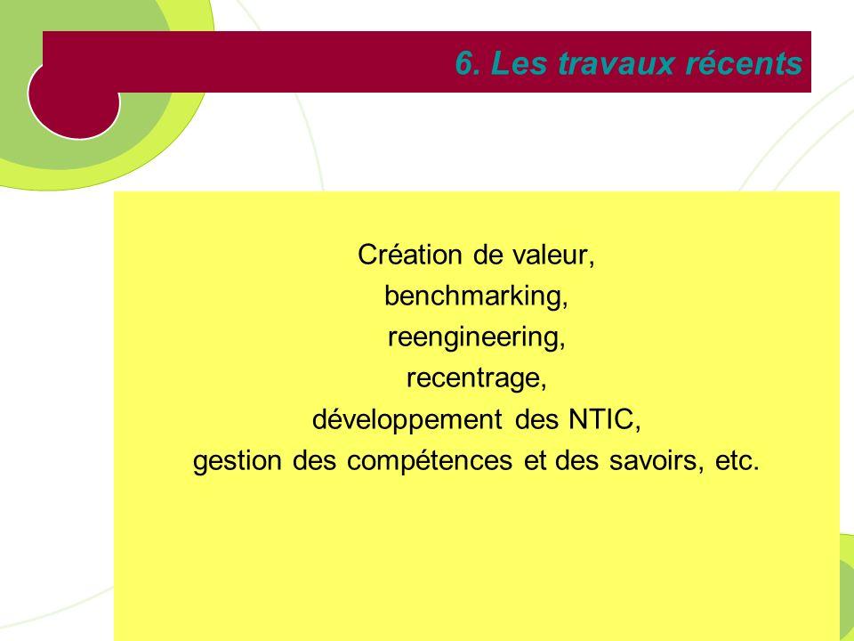 6. Les travaux récents Création de valeur, benchmarking,