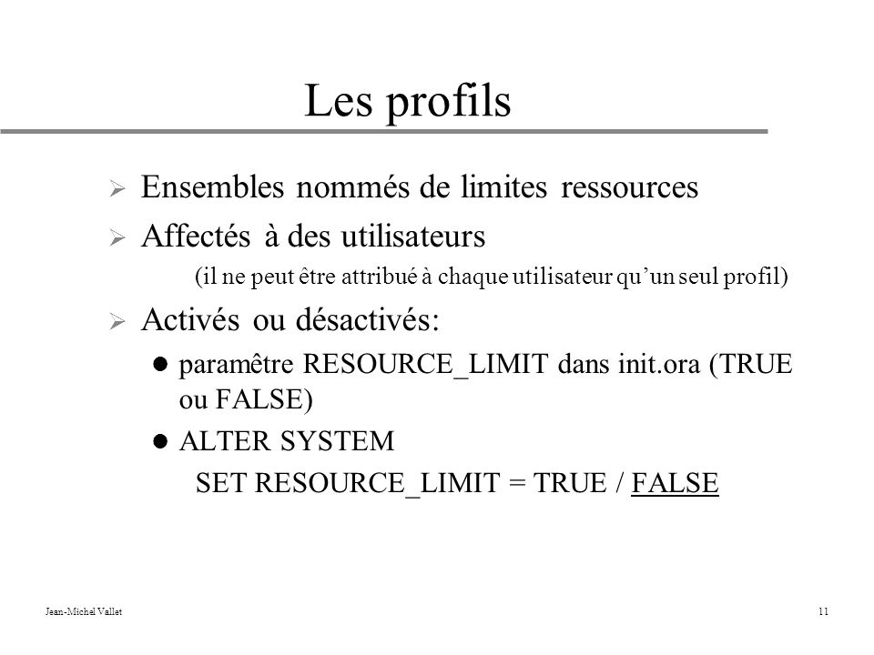 Les profils Ensembles nommés de limites ressources