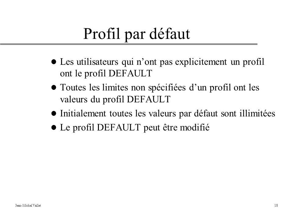 Profil par défaut Les utilisateurs qui n'ont pas explicitement un profil ont le profil DEFAULT.