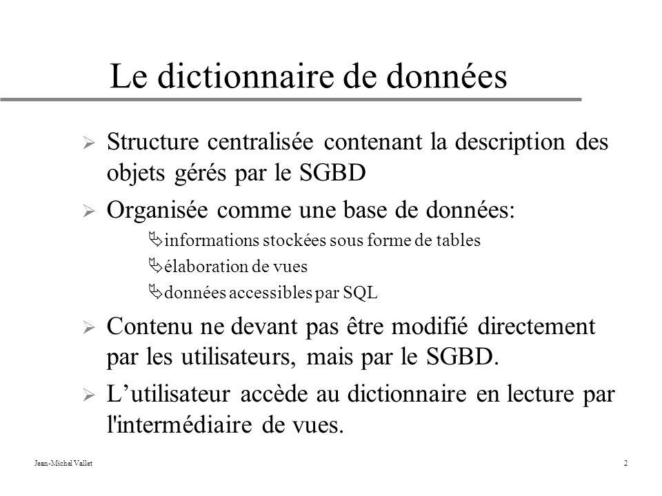 Le dictionnaire de données
