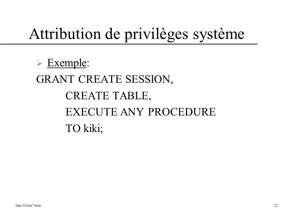Attribution de privilèges système