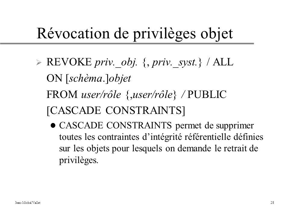 Révocation de privilèges objet