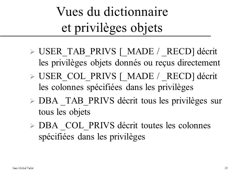 Vues du dictionnaire et privilèges objets