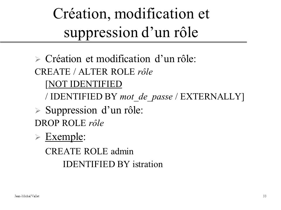 Création, modification et suppression d'un rôle