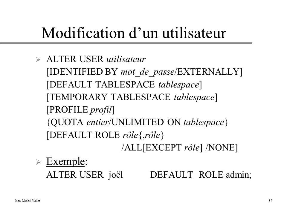 Modification d'un utilisateur