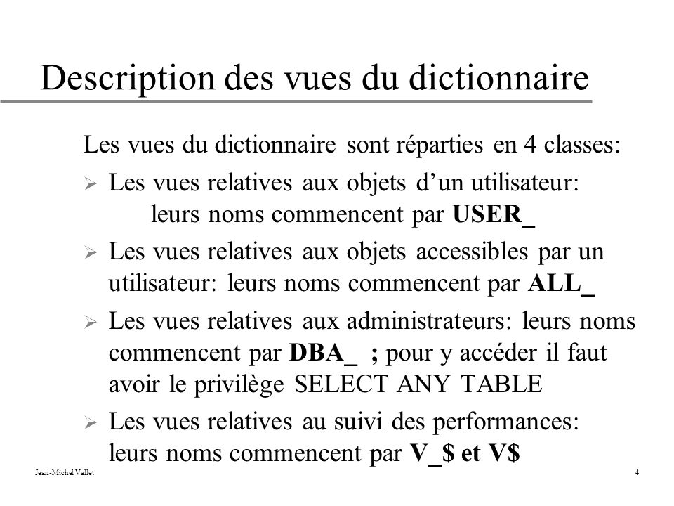 Description des vues du dictionnaire