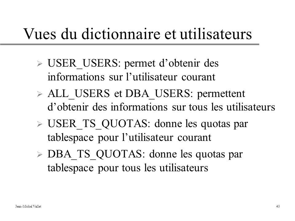 Vues du dictionnaire et utilisateurs