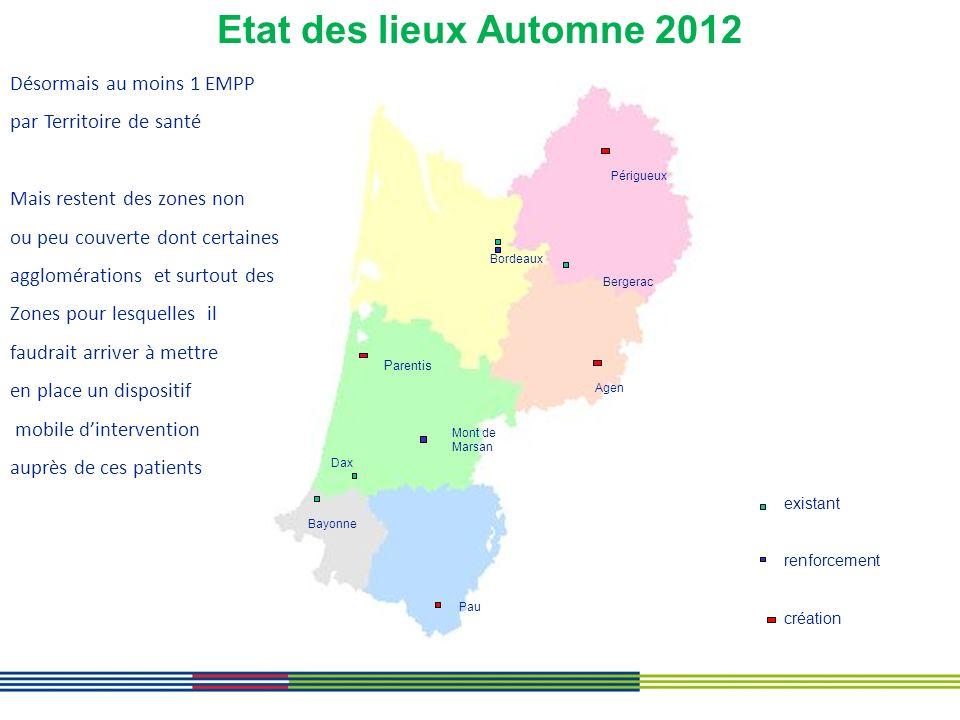 Etat des lieux Automne 2012 Désormais au moins 1 EMPP