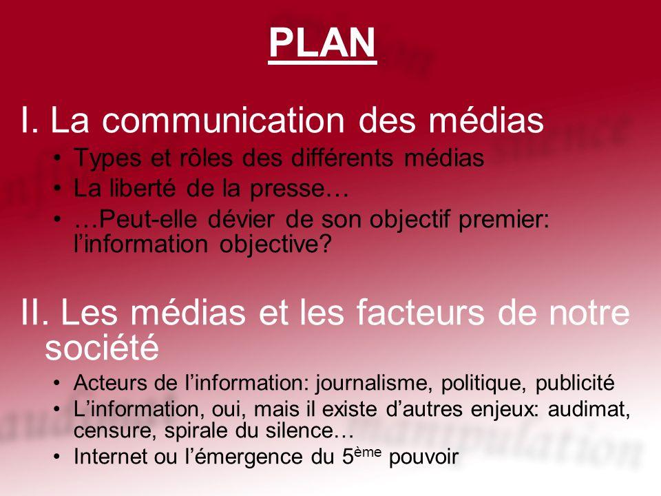 PLAN I. La communication des médias