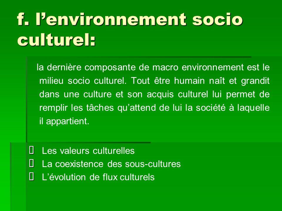 f. l'environnement socio culturel: