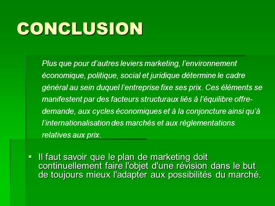 CONCLUSION Plus que pour d'autres leviers marketing, l'environnement. économique, politique, social et juridique détermine le cadre.