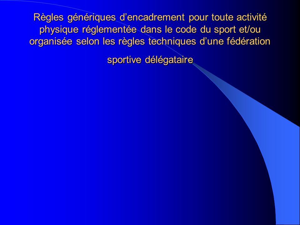Règles génériques d'encadrement pour toute activité physique réglementée dans le code du sport et/ou organisée selon les règles techniques d'une fédération sportive délégataire