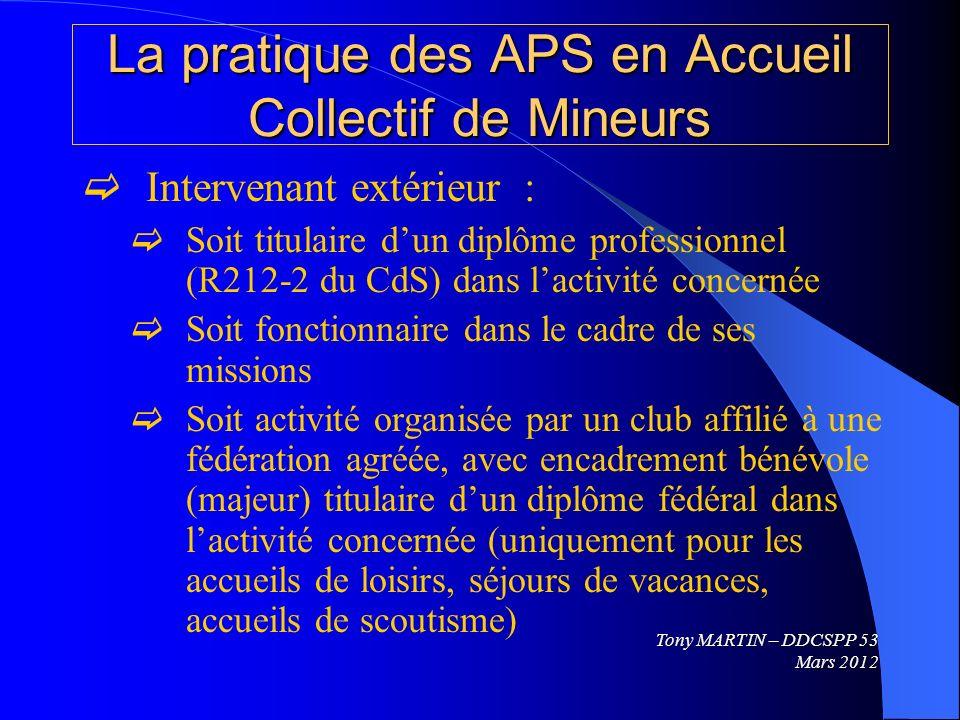 La pratique des APS en Accueil Collectif de Mineurs