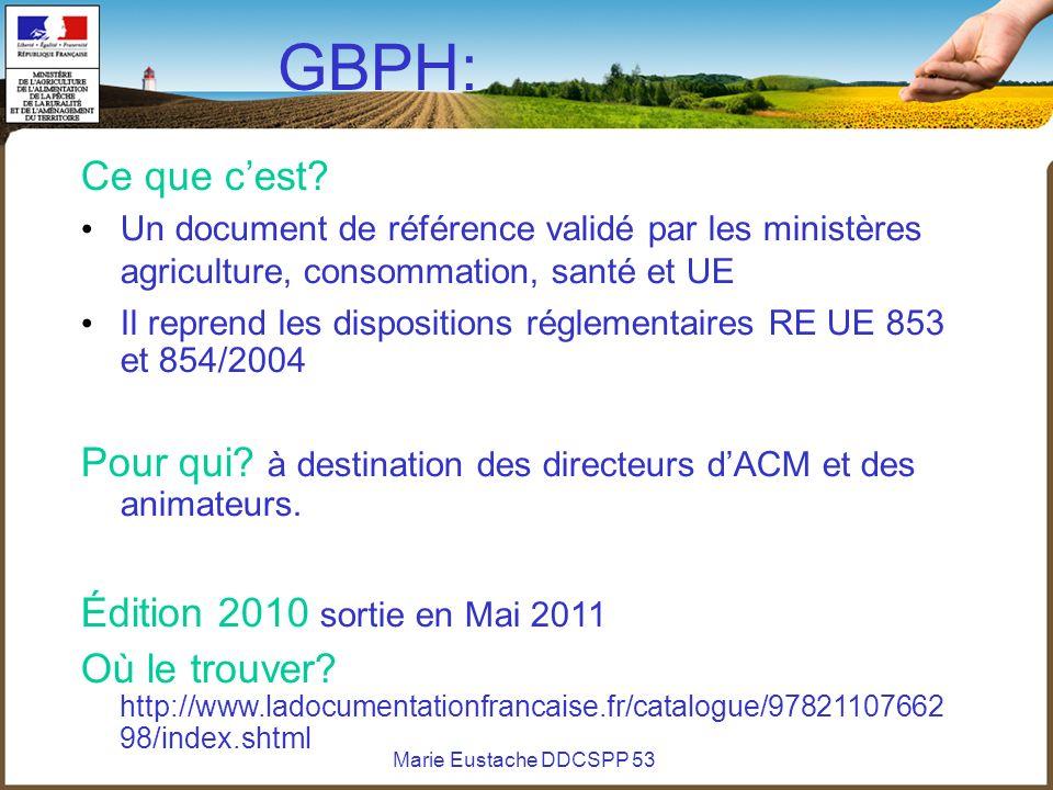 GBPH: Ce que c'est Un document de référence validé par les ministères agriculture, consommation, santé et UE.