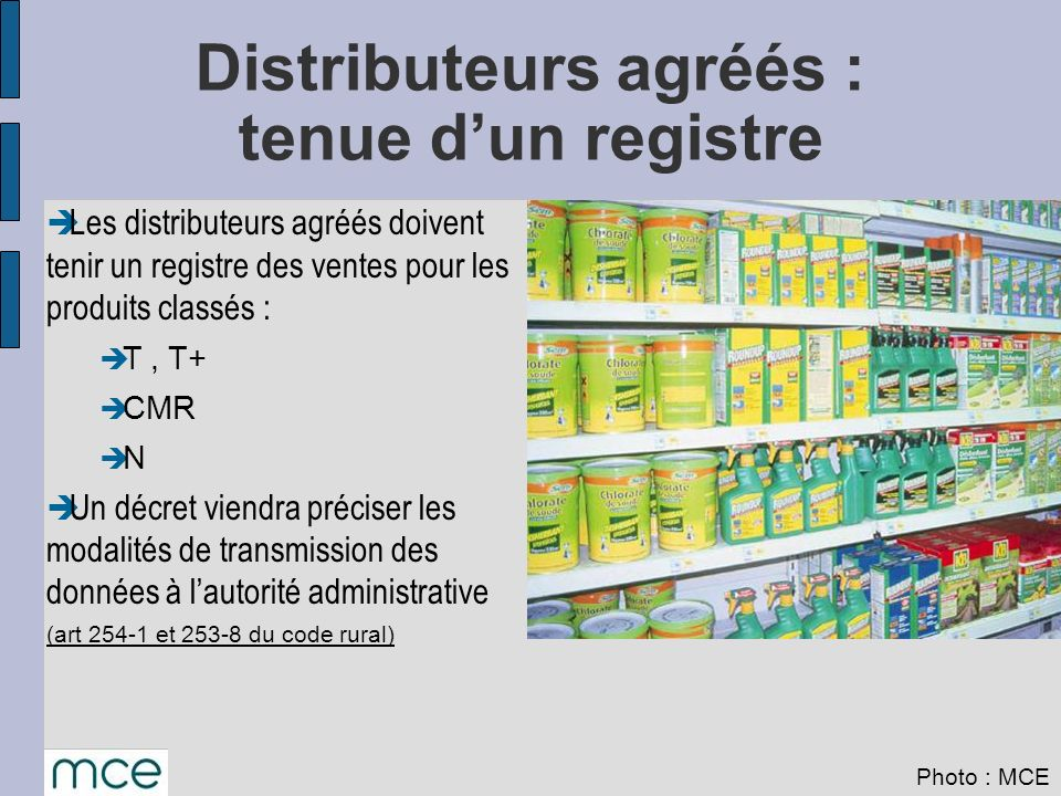Distributeurs agréés : tenue d'un registre