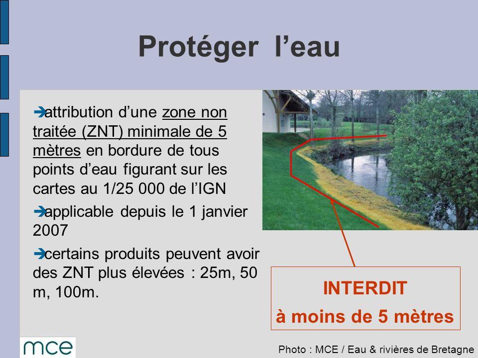 Protéger l'eau INTERDIT à moins de 5 mètres