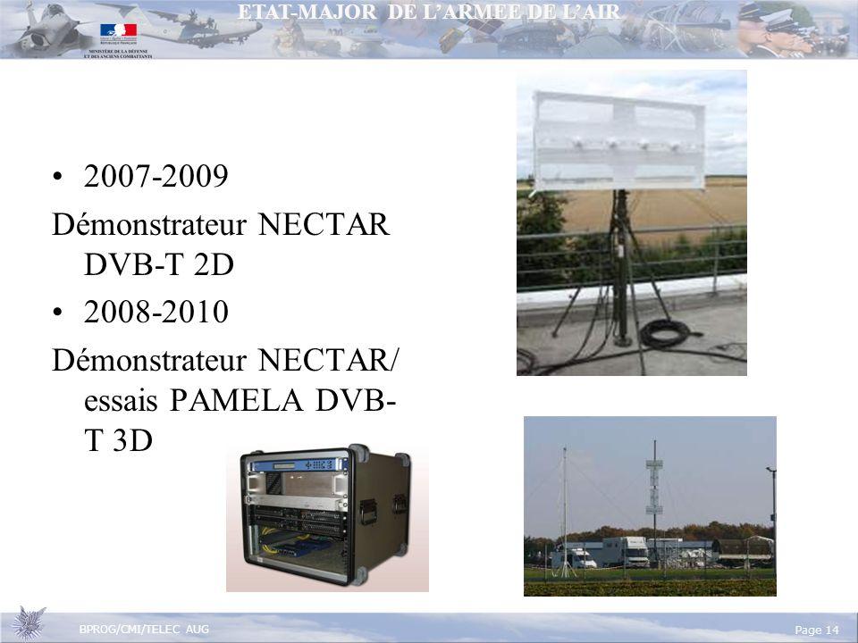 2007-2009 Démonstrateur NECTAR DVB-T 2D 2008-2010 Démonstrateur NECTAR/ essais PAMELA DVB-T 3D